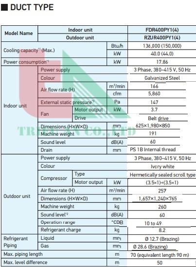fdr400 - Máy lạnh Daikin nối ống gió FDR400PY1/RZUR400PY1